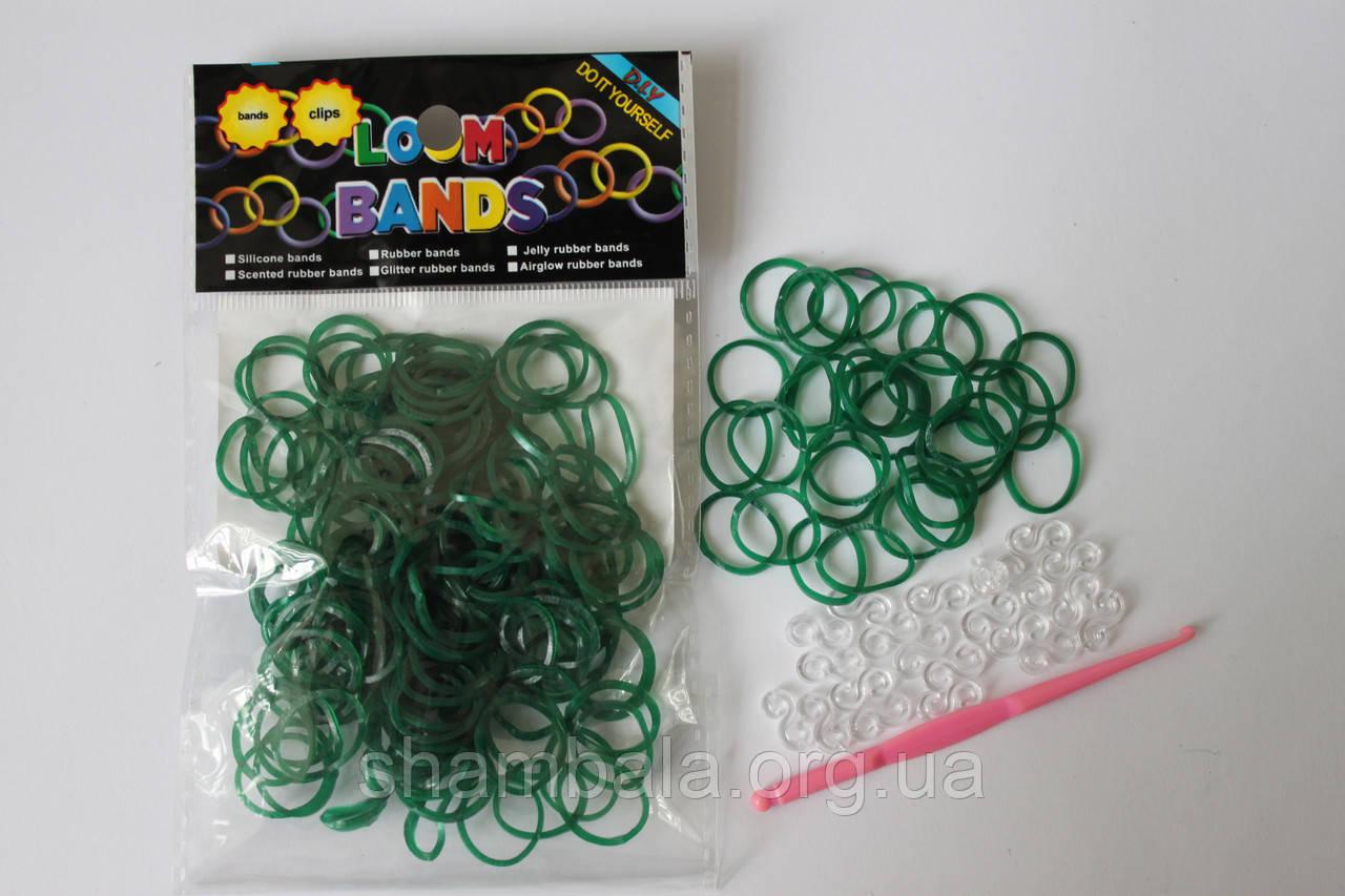 100 штук темно зеленых резиночек