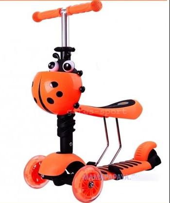 Самокат-беговел mini Scooter 3в1 (помаранчевий) сидіння, кошик, светящ. колеса.***