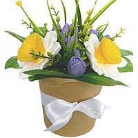 Букет из мыла на подарок к празднику интерьерная ароматическая композиция в кашпо Нарциссы с тюльпанами 400 г