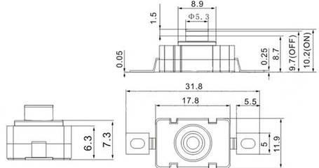 Кнопочный выключатель для фонаря с фиксацией ON-OFF прямоугольный, фото 2