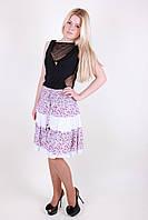 Молодежная женская юбка до колен в мелкий цветочек