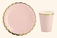 Тарелочка и стаканчик праздничные  персиковые