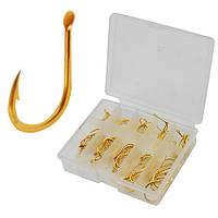 """Крючок рыболовный """"Trunk"""" золотистый, в наборе 100шт коробок, в упаковке 10 коробок, крючки рыболовные, крючок для ловли рыб"""