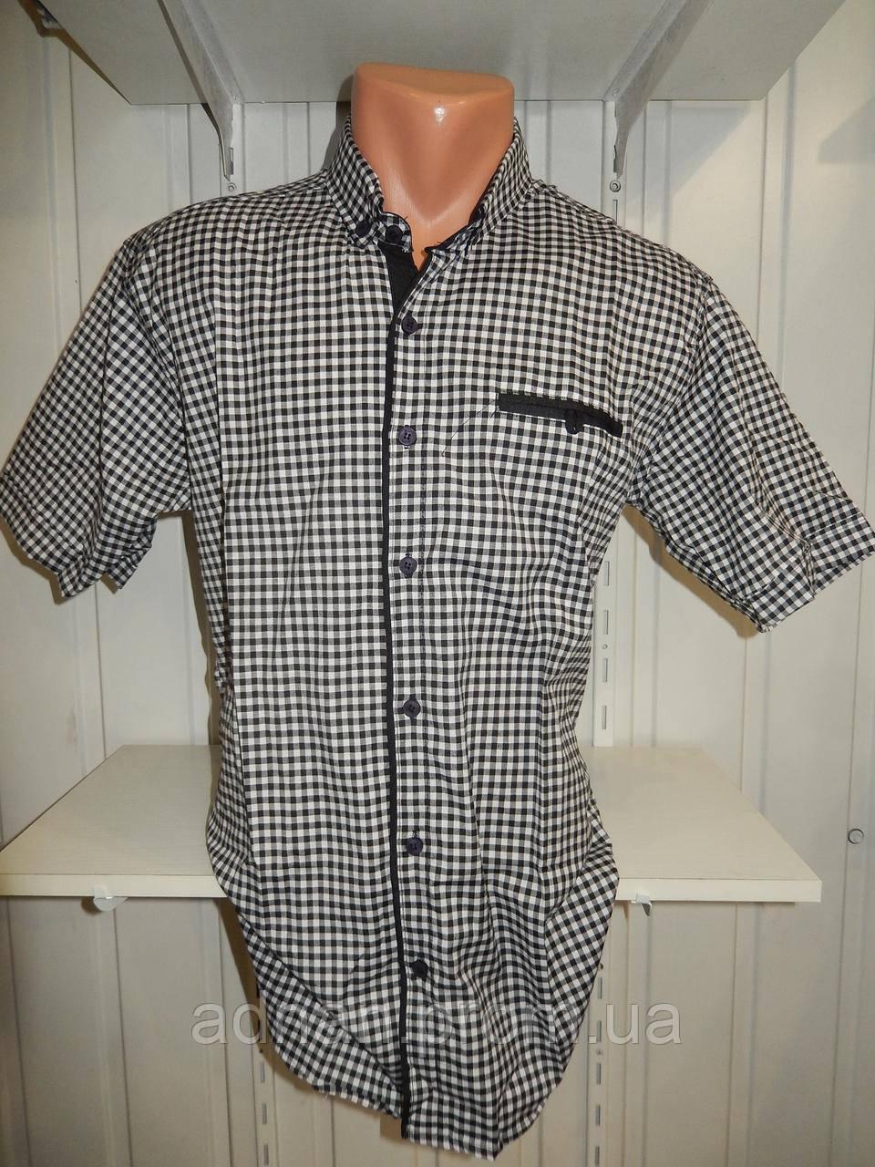 Рубашка мужская  SENATO полу-батал стрейч мелкая клетка 16.04 001 \ купить рубашку оптом.