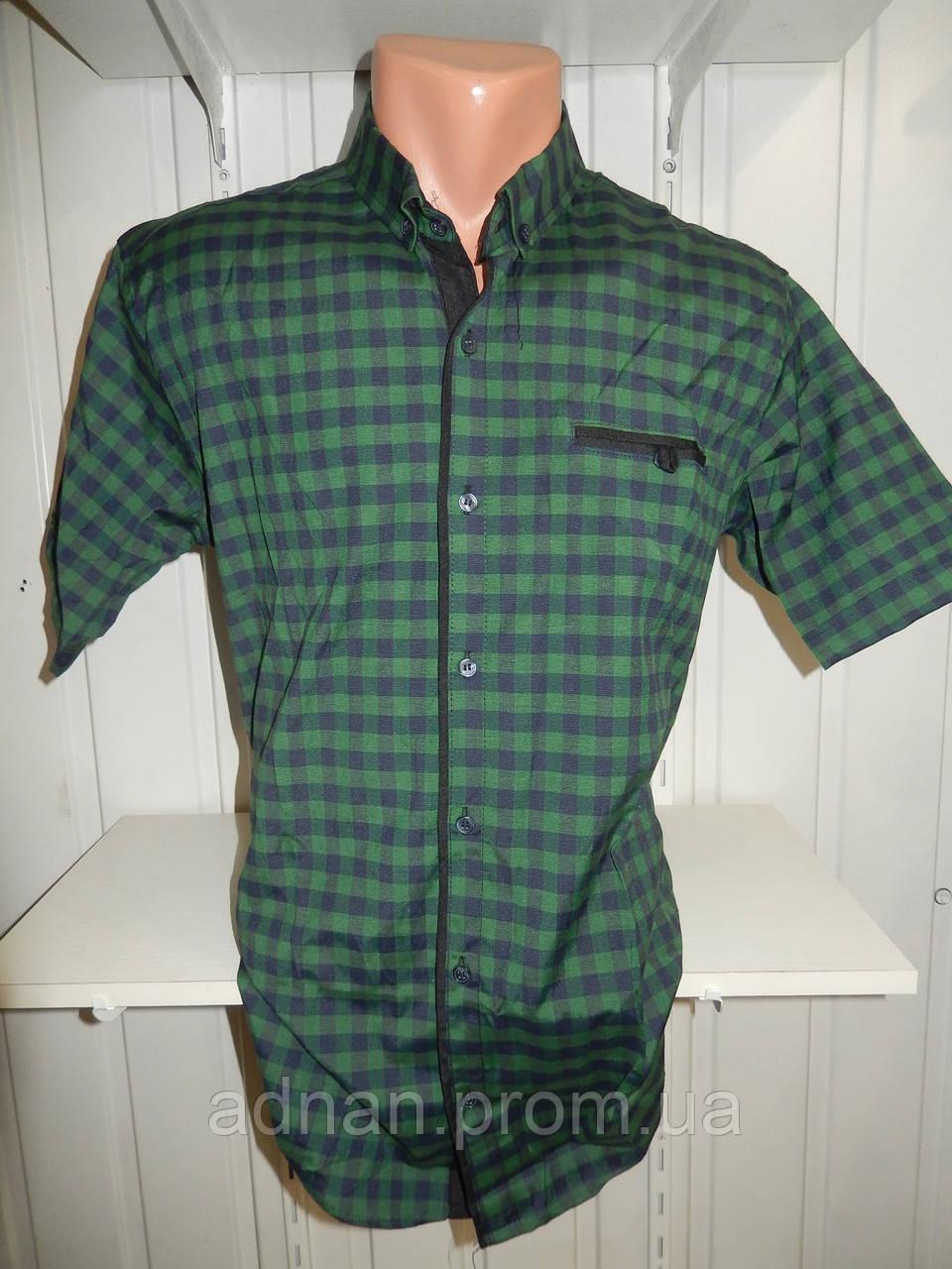 Рубашка мужская  SENATO полу-батал стрейч средняя клетка 16.04 004 \ купить рубашку оптом.
