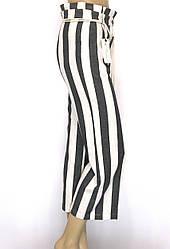 Жіночі широкі штани в полоску з високою талією