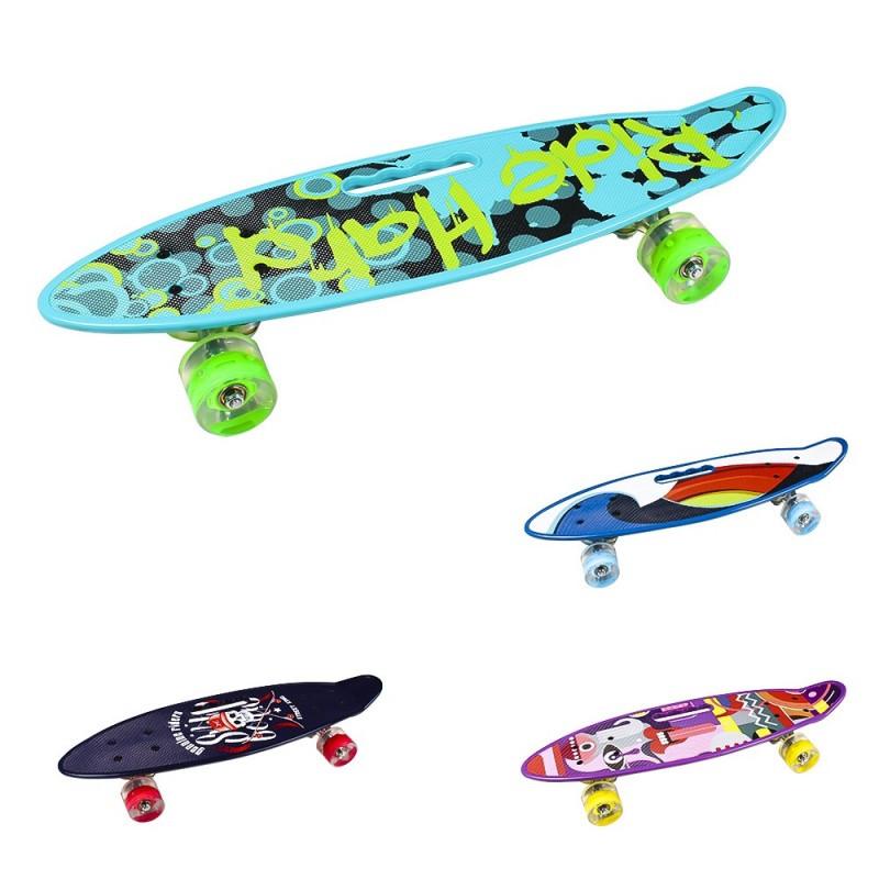 Скейт пластиковый PU Колёса светятся 59x16см разные цвета