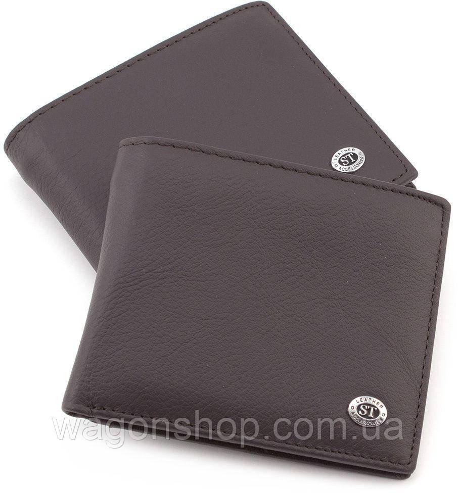 Коричневое мужское портмоне без застежки ST Leather