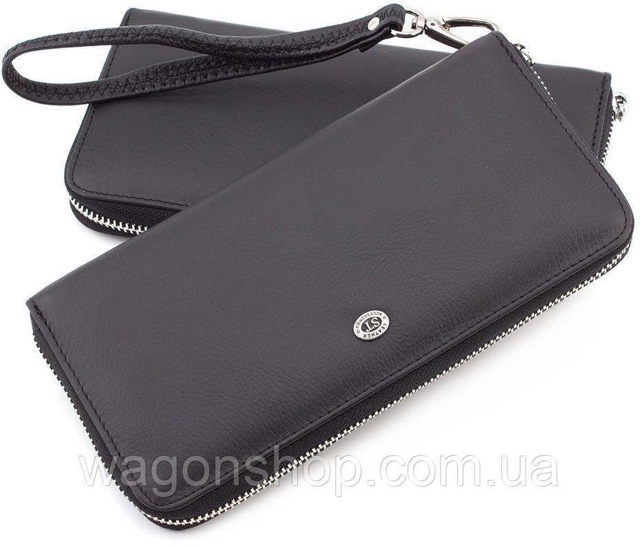 Мужской кожаный кошелек-клатч на молнии ST Leather