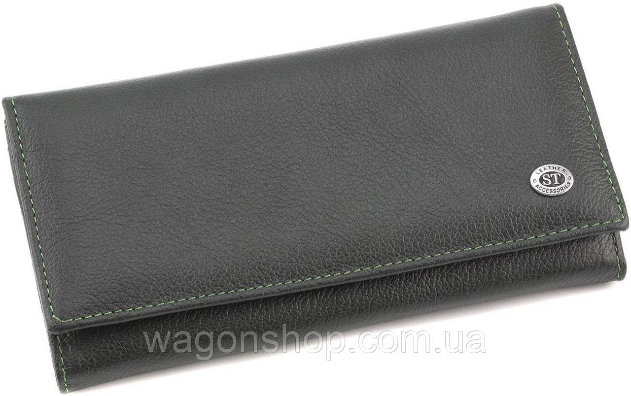 Кожаный зеленый кошелек с фиксацией на кнопку ST Leather