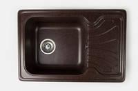 Популярная модель каменной мойки Elegant MIG 650 x 440 mm. Черный цвет, комплектация хром, керамогранит.