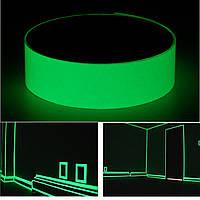 Фотолюминесцентная лента 12 мм x 10 м. Светится в темноте. Знак безопасности на выходе. Ярко-зеленый. - 1TopShop
