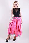Яркая летняя длинная юбка модного кроя из натуральной ткани, фото 2