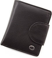 Черный маленький кошелек с фиксацией на кнопку ST Leather
