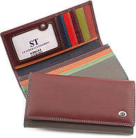 Кожаный оригинальный кошелек с фиксацией на кнопку ST Leather