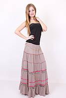 Красивая длинная расклешенная юбка в пол из натуральной ткани