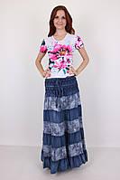 Модная летняя юбка из качественного тонкого джинса