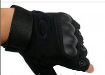 Летние текстильные тактические беспалые обрезные мото перчатки без пальцев, фото 3