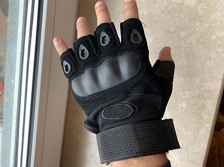 Летние текстильные тактические беспалые обрезные мото перчатки без пальцев, фото 2