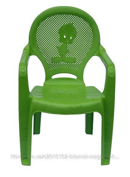 Пластиковое кресло детское Утенок зеленый