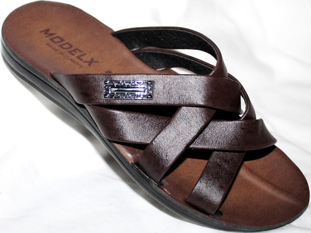 Шлепанцы мужские MODELEX кожаные коричневые