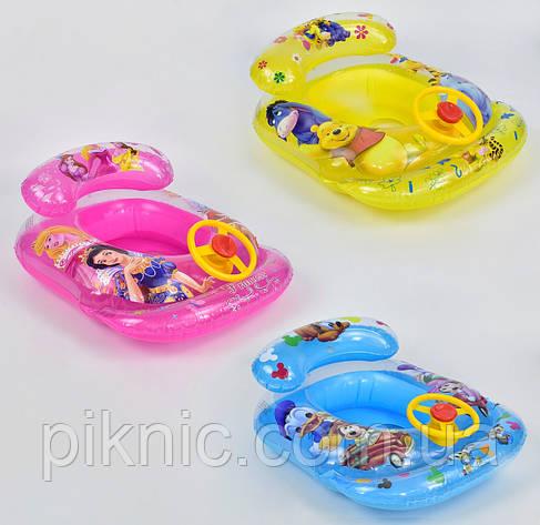 Плотик круг с рулем для детей от 2 лет. Детский надувной, водный плот, матрас Интекс для плавания, фото 2