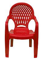 Пластиковое детское кресло ромб красное