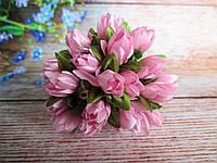 Тюльпан на проволочке, d 1 см, розового цвета, 1 шт