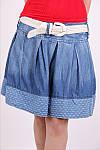 Стильная джинсовая мини юбка с поясом , фото 2