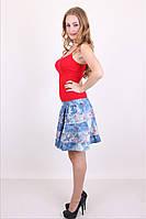 Молодежная мини юбка с цветочным принтом  из тонкого джинса