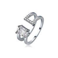 Роскошное двухслойное регулируемое открытое торцевое кольцо Платиновое блестящее циркониевое кольцо для Женское - 1TopShop