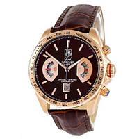 Часы швейцарские Таг Хоер реплика высочайшего класса коричнево-золотистые