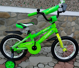"""Велосипед  с ручкой Azimut Stitch A 12"""" cалатовый ***"""