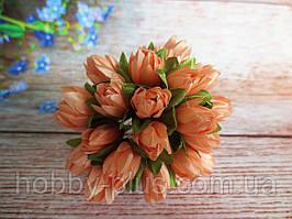 Тюльпан на проволочке, d 1 см, персикового цвета, 1 шт