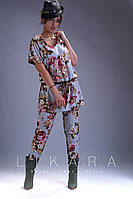 Женский костюм двойка блуза+штаны укороченные супер софт стрейч принт цветы размер:58,60,62