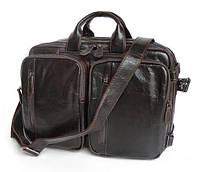 """Кожаная сумка-трансформер рюкзак для ноутбука 13"""" 13.3"""" 14"""" коричневая 2 отделения"""