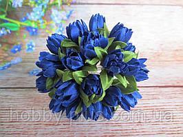 Тюльпан на проволочке, d 1 см, синего цвета, 1 шт