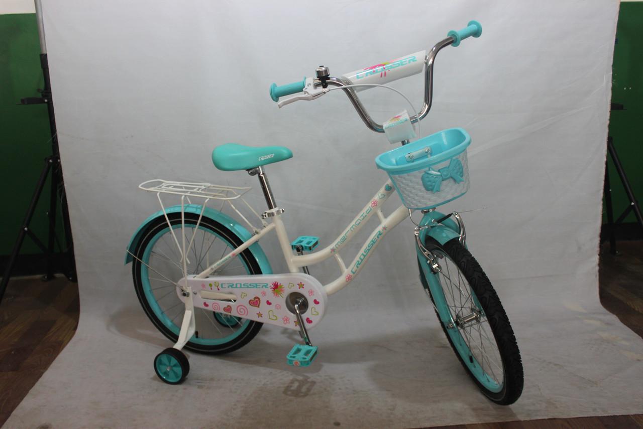 Велосипед двоколісний 16 дюймів Azimut Mermeid CROSSER-8 блакитний***
