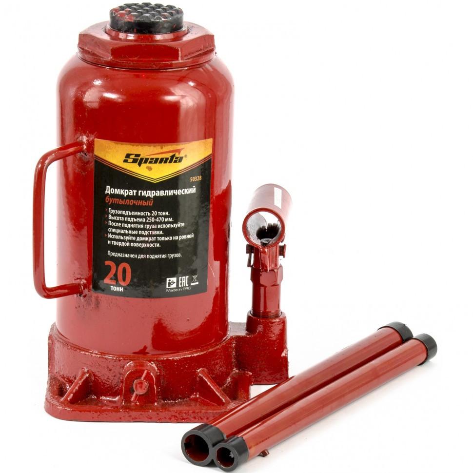 Домкрат гидравлический бутылочный, 20 т, h подъема 250-470 мм SPARTA