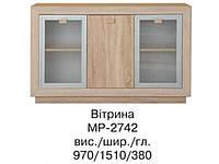 Комод-витрина Корвет МР-2742 (БМФ) 1510х970х970мм акация