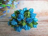 Тюльпан на проволочке, d 1 см, небесно-голубого цвета, 1 шт