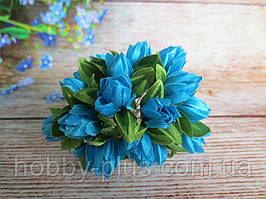 Тюльпан на дротику, d 1 см, небесно-блакитного кольору, 1 шт