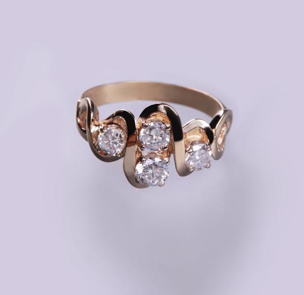 Золотое кольцо с бриллиантами С20Л1№6