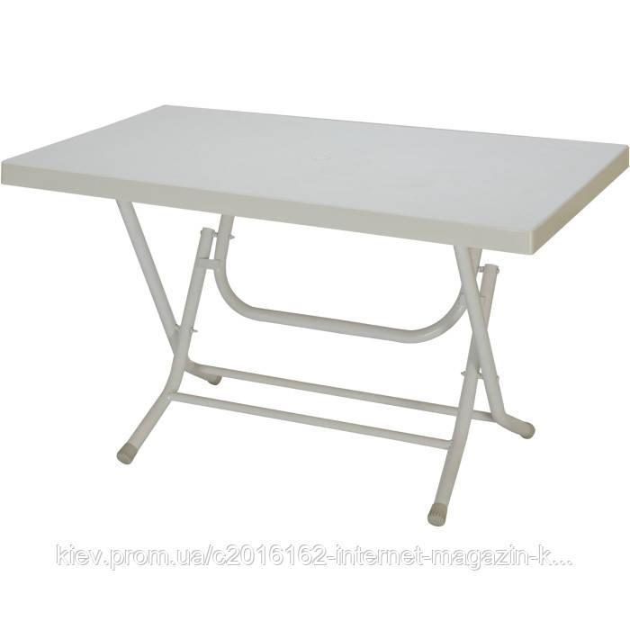 Пластиковый раскладной пляжный стол кокнар с металлическими ножками  белый