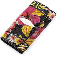 d743ff0fd5cd Женский кошелек из натуральной кожи морского ската черного цвета STINGRAY  LEATHER