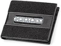 bd835f5270a9 Мужской кошелек из натуральной кожи морского ската черного цвета STINGRAY  LEATHER