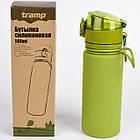 Бутылка силиконовая Tramp 500 мл olive. Фляга для воды. Складная силиконовая бутылка с карабином, фото 5