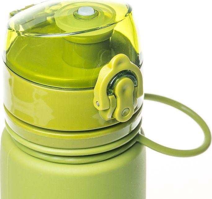 Бутылка силиконовая Tramp 500 мл olive. Фляга для воды. Складная силиконовая бутылка с карабином