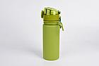 Бутылка силиконовая Tramp 500 мл olive. Фляга для воды. Складная силиконовая бутылка с карабином, фото 2