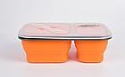 Контейнер силіконовий на 2 відсіки Tramp (900ml) з ловилкою orange, фото 3